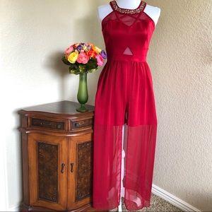 Cherry Red Sheer Skirted Shorts Dress